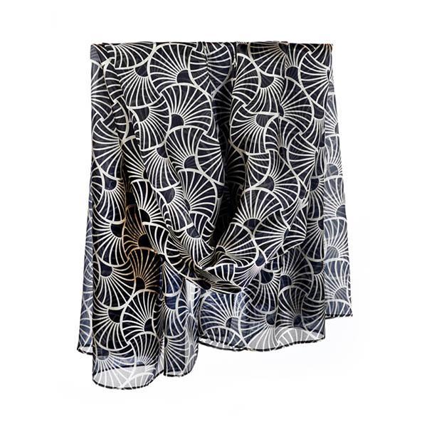 Deco Gingko Leaf Habotai Silk Wrap